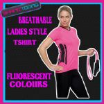 LADIES WOMENS BREATHABLE SPORTS GYM RUNNING TSHIRT GIRLIE FLUORESCENT COLOURS